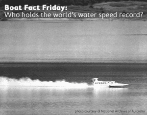 Ken Warby and the Spirit of Australia skimming across the water