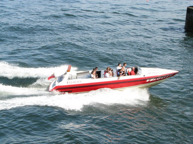 red and white recreational boat on the water