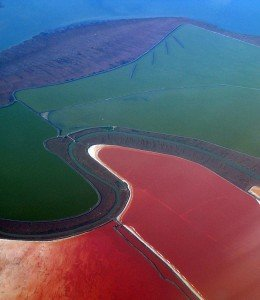 red colored Salt ponds of South Bay, SF