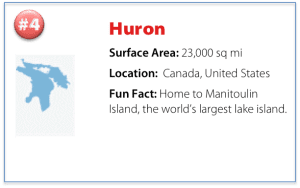 facts about Lake Huron including surface area, location, and a fun fact