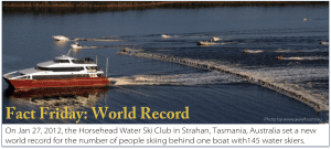 Photo of world record: most water skiers skiing behind one boat