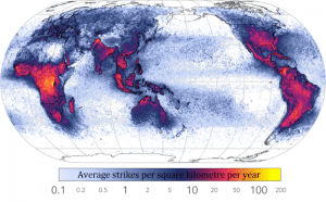 map of the world showing average lightning strikes per kilometer per year