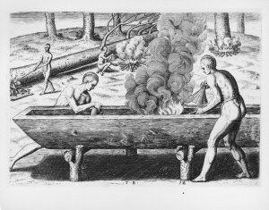 painting of ancient people making a dugout canoe