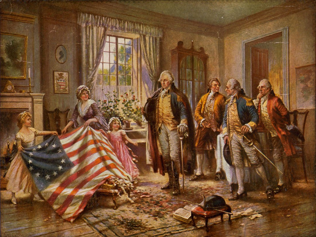 painting of George Washington in a home looking at the Besty Ross flag