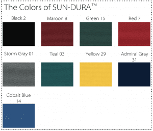 Sun-DURA swatches shown in all the available colors