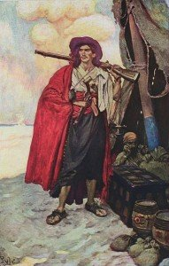 painting of a buccaneer in a red cloak