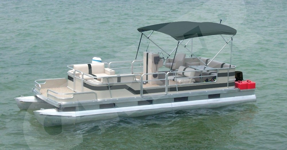partially enclosed pontoon with black bimini top on the water