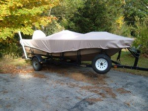 beige carver Boat Cover on V Hull Boat
