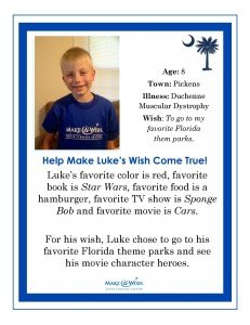 Make a Wish foundation flyer to help Luke's wish come true