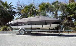 bayliner boat with a beautiful cover