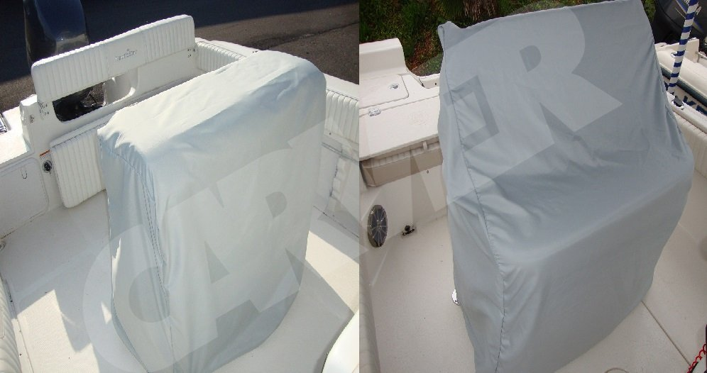 light gray Carver leaning post cover for boat