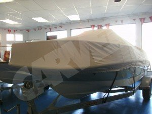 boston whaler dauntless with carver cover in beige