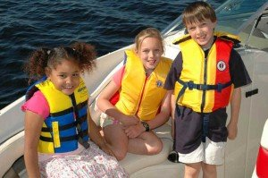 Kids with life jackets on boat