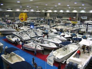 aerial image of boat show