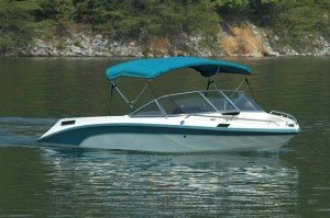 Aquamarine Sunbrella Bimini Top on Runabout Boat on Water