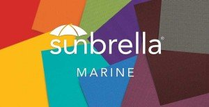 Sunbrella logo with fabric swatches