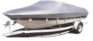boat covered with a silver cover