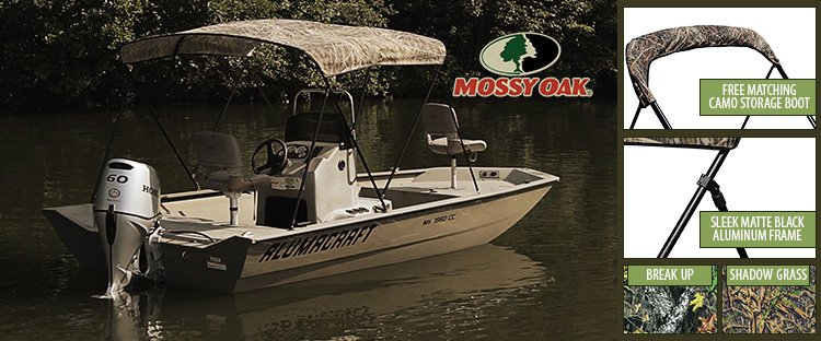 Alumacraft boat with A Mossy Oak™ Camo Bimini Top and Bimini Features
