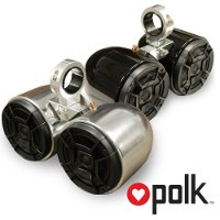 "Polk Polished Double Barrel Speakers- One Pair, 2.5"" Clamps"