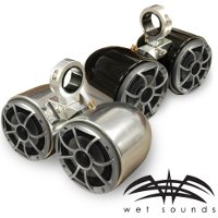 "Wet Sounds Polished Double Barrel Speakers- One Pair, 2.5"" Clamps"