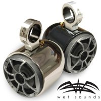 "Wet Sounds Polished Single Barrel Speakers- One Pair, 2.5"" Clamps"