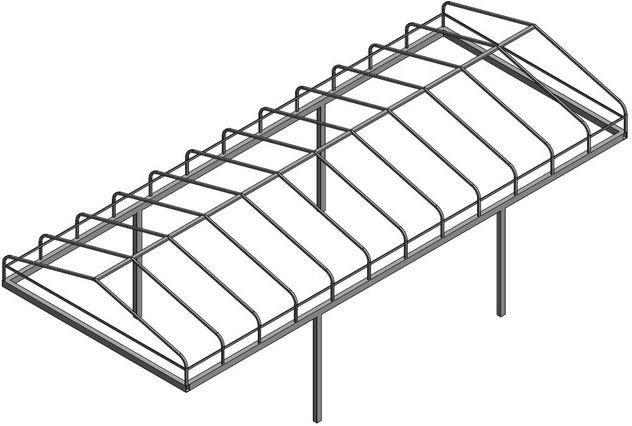 Line Art for a Pier Pleasure, Daka, Beach King, and Hewitt Style Boat Lift Canopy Frames