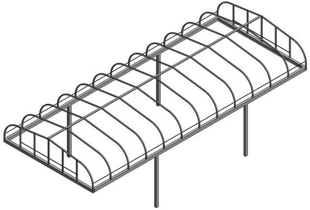 Line art for flat ends with rounded sides style boat lift canopy