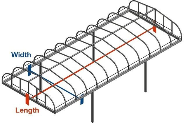 Line art for summit boat lift canopy measuring