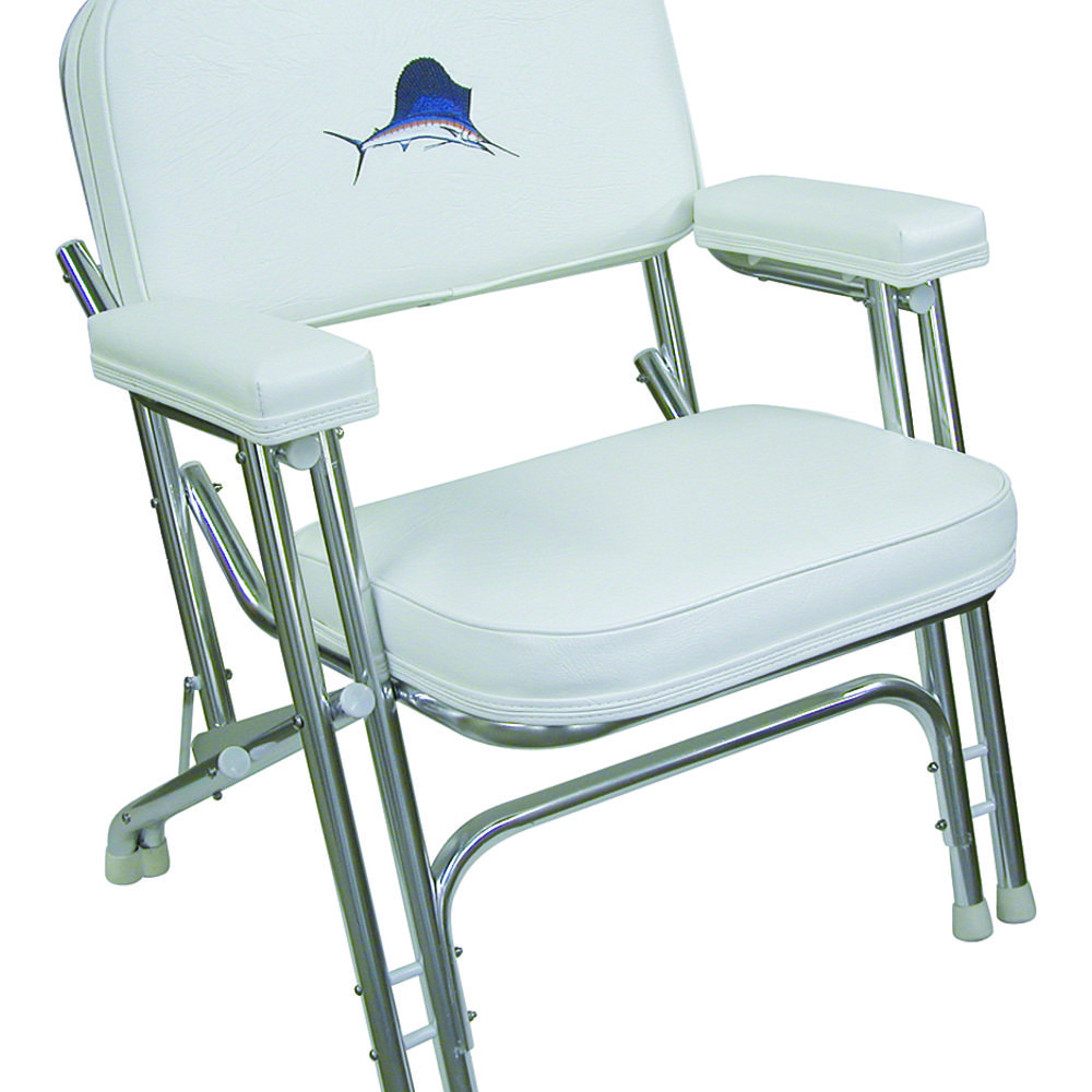 8wd119 Folding Deck Chair Embroidered Marlin Aluminum
