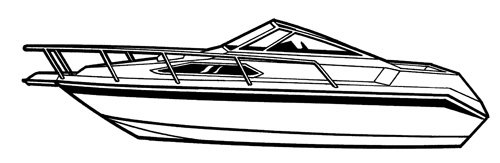 Line art of the High Profile Cabin Cruiser with Windshield and Bow Rails boat style