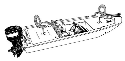 Line art of the Jon Style Bass Boat boat style