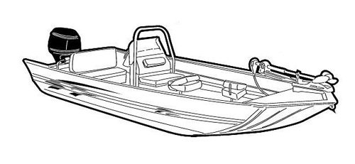 Line art of the Modified V Jon Boat with High Center Console boat style