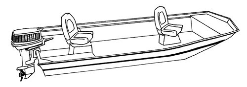 Line art of the Open Jon Boat boat style