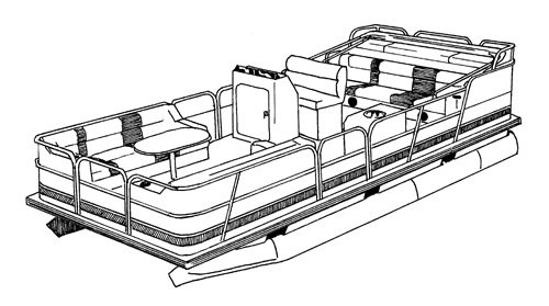 Line art of the Pontoon with Bimini Top and Rails that Fully Enclose Deck boat style