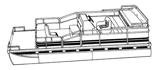 Line art of the Pontoon with Rails that Partially Enclose Decks boat style
