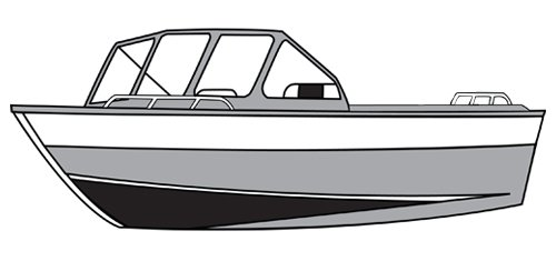 Line art of the Aluminum/Northwest Style Fishing Boat with High Windshield Mounted Forward - Narrow boat style