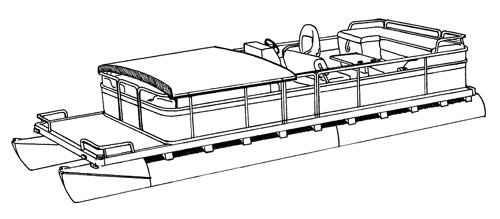 Line art of the Pontoon with Fold Down Hard Tops and Rails boat style