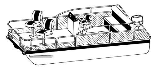 Line art of the Pontoon with Low Rails or Fishing Chairs boat style