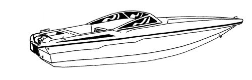 Line art of the Ski Boat with Low Profile Windshield boat style