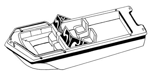 Line art of the Tri-Hull Runabout Boat with Windshield and Bow Rails boat style