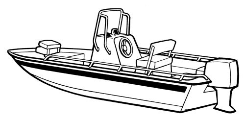 Line art of the V-Hull Center Console Shallow Draft Fishing Boat boat style