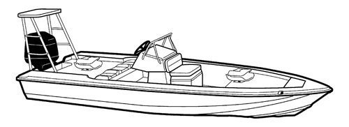 Line art of the V-Hull Center Console Shallow Draft Fishing Boat with Poling Platform boat style