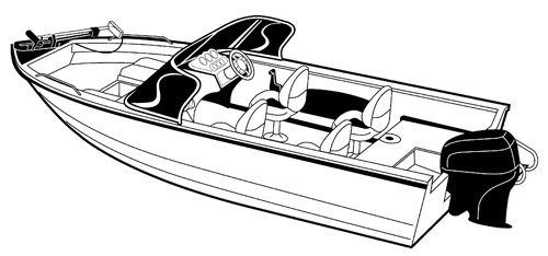 Line art of the Aluminum V-hull Fishing Boat with Walk-Thru Windshield - Wide Series boat style