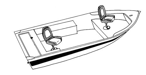 Line art of the V-Hull Fishing Boat - Wide boat style
