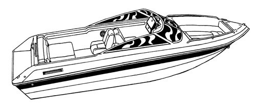 Line art of the V-Hull Runabout Boat with Walk-Thru Windshield and Bow Rails boat style