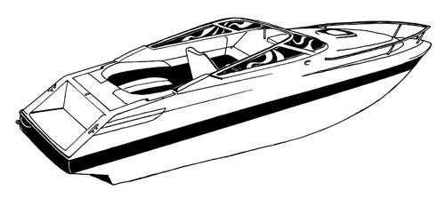 Line art of the V-Hull Low Profile Cuddy Cabin Boat with Windshield and Bow Rails boat style