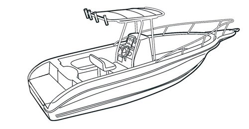 Line art of the V-Hull Center Console Fishing Boat with High Bow Rails with T-Top boat style