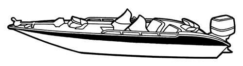 Line art of the Wide Bass Boat boat style