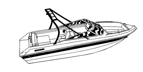 Line art of the V-Hull Runabout Boat with Ski Tower boat style
