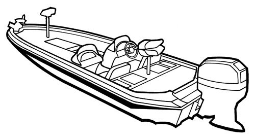 Line art of the Angled Transom Bass Boat boat style